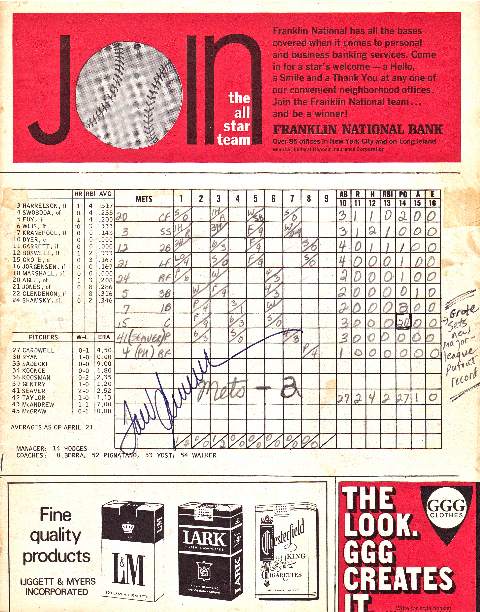 Tom Seaver's 19 Strikeout Game - Page 2 (click to enlarge)