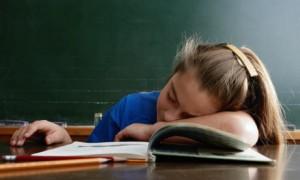 child asleep in class