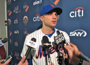 David Wright answers questions at the Mets 50th anniversary announcement