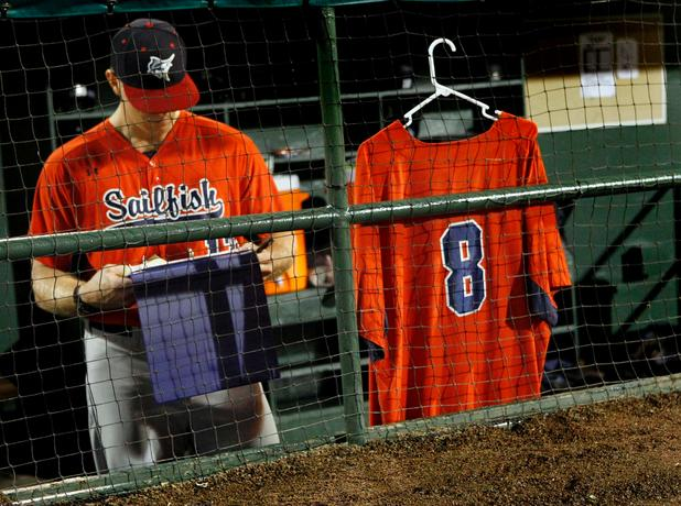 Gary Carter Attends His Baseball Team's Opening Night