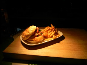 Fried flounder sandwich at Delta Sky360 Club