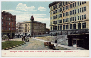 The Kilmer Building, on the extreme right, is the only one of these three buildings still standing today.  The Arlington Hotel is the red brick building on the left.