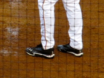 Nimmo rocking sweet Under Armour cleats (Photo by Jim Mancari)