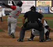 Eudy Pina delivers RBI single in the second inning Tuesday night.