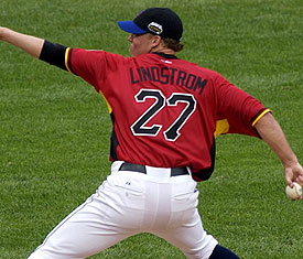 Matt Lindstrom appeared in the 2006 Futures Game while playing for the B-Mets