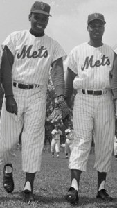 In 1962, Felix Mantilla (left) passed Charlie Neal (right) on the all-time hits list and in this photo.