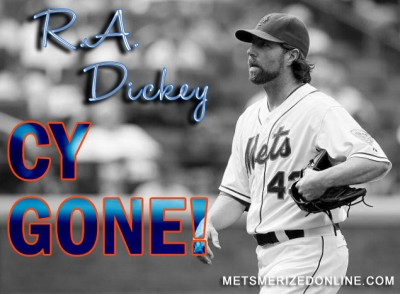 CY Dickey is headed north of the border