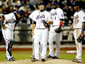 Former Mets reliever Ryota Igarashi reacts to the news that his interpreter has left the building.