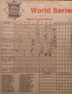 Mets box score from Game 6 of the 1986 World Series