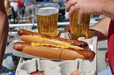 beer hot dog baseball