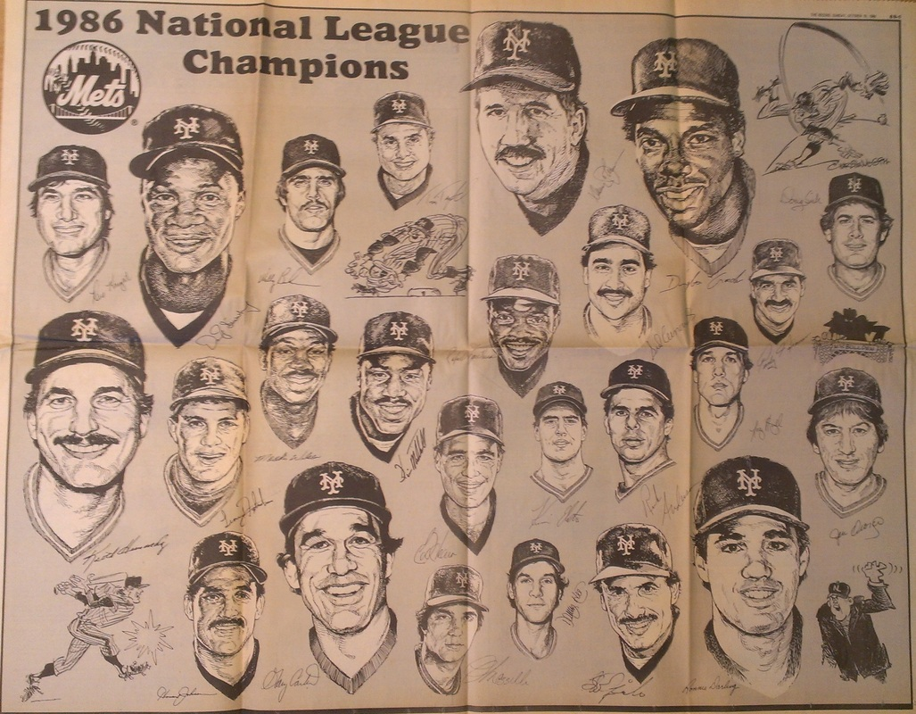 Two-page spread of the NL champion Mets in The Record newspaper on Sunday, Oct. 19, 1986