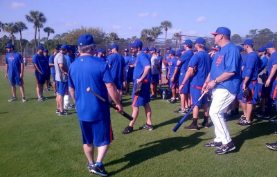 mets spring training 2013 Wally Backman leads workout
