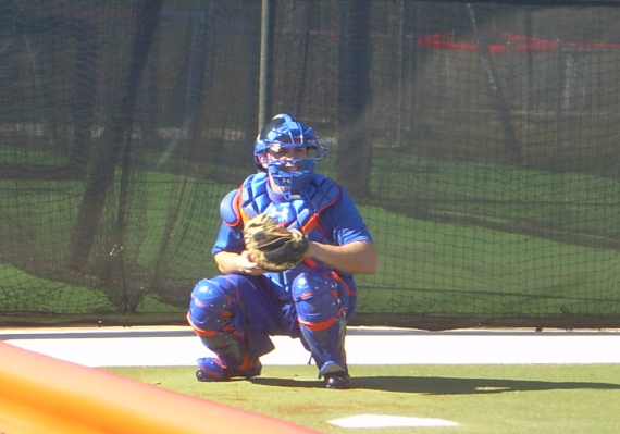 Travis d'Arnaud is ready to receive some hard ones from Zack Wheeler and Matt Harvey.