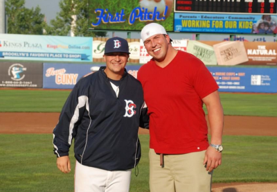 Rob Whalen: Got to catch the first pitch from Super Bowl champ Dave Diehl.