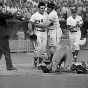 Ray Fosse On Ground, Pete Rose Standing