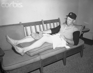 Mickey  Mantle Lying on Couch with Covering on Injured Knee
