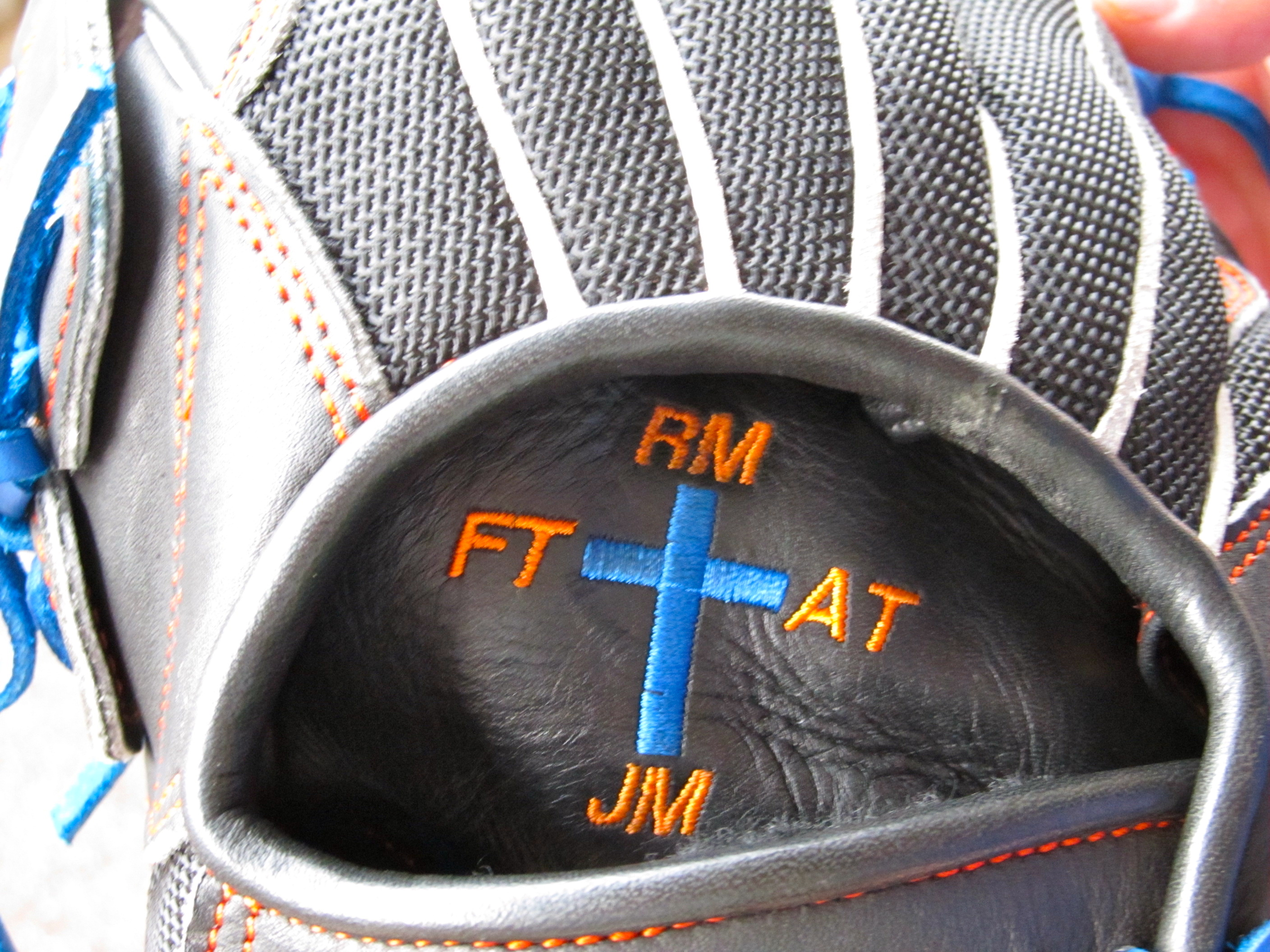The cross on John Mincone's glove (Photo by Jim Mancari)
