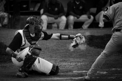 baseball catcher black and white