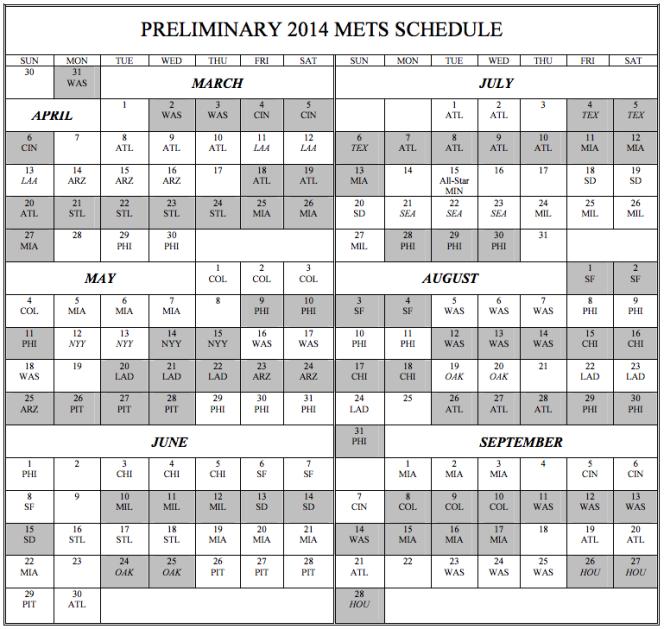 2014 schedule