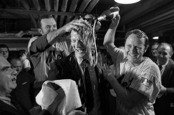 1969 Mets, Jerry Grote, Rod Gaspar, Mayor Lindsay Mets sweep the Braves.