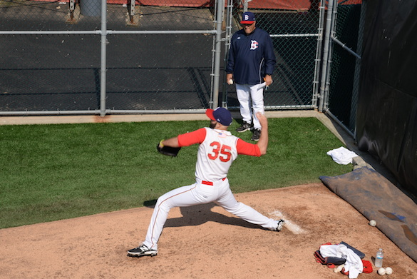 Dillon Gee warming up in the bullpen (Photo by Diana Colapietro)