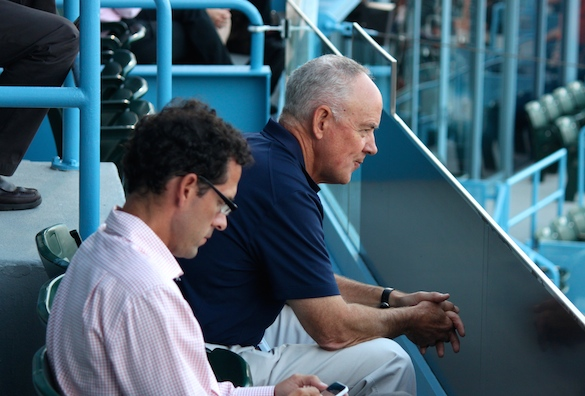 Sandy Alderson and Paul DePodesta visited MCU Park Wednesday night, likely to check out first-round pick Michael Conforto. (Photo by Jim Mancari)