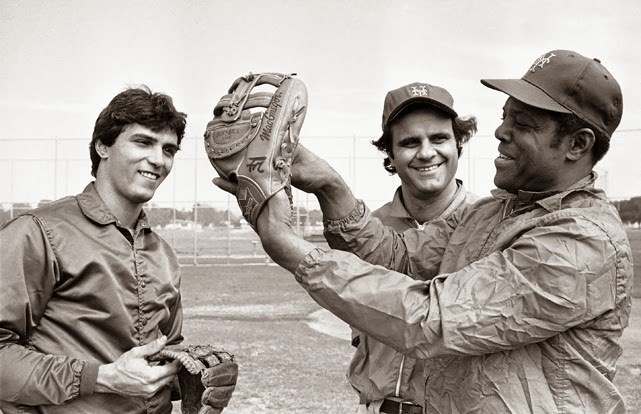 A young Mazzilli with HOFers Joe Torre and Willie Mays