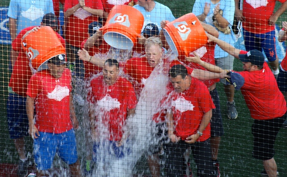 Boomer Esiason, Craig Carton, John Franco and Steve Lavin accept the ALS Ice Bucket Challenge. (Photo by Jim Mancari)