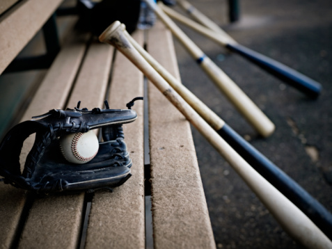 glove bats bench