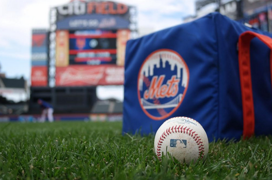 mets baseball logo grass field