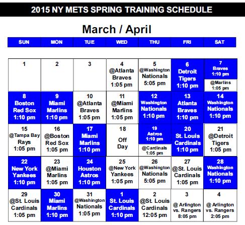 2015 spring schedule