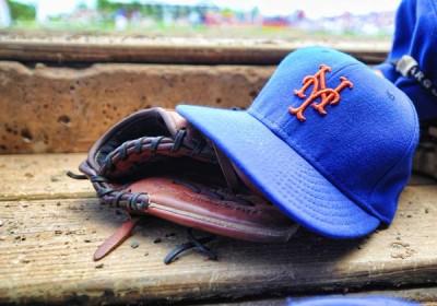 mets cap hat glove bench