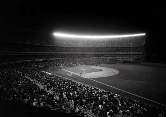 shea stadium night bw
