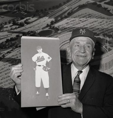 Casey Stengel Holding Drawing for New Baseball Uniform