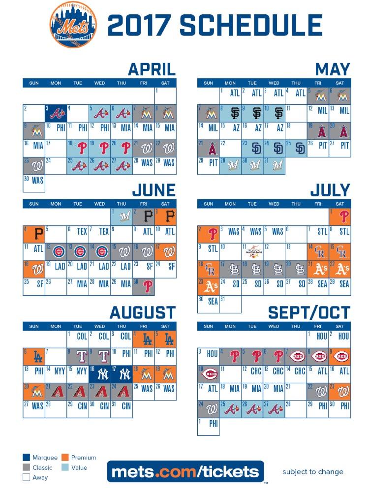 Mets Printable Schedule | Calendar Template 2016