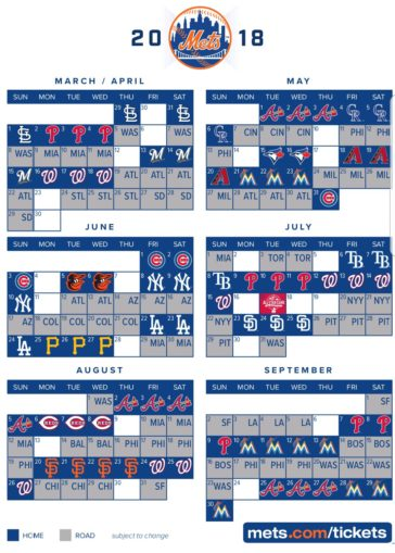 New York Mets Home Schedule