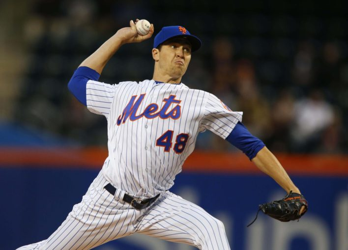 Jacob deGrom leaves start after four shutout innings